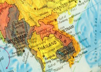 Vintage Map Thailand ,Vietnam, Laos .  Close-up macro image of South East Asia  map . Selective focus